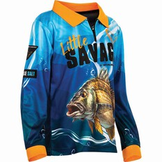 Savage Kids' Bream Sublimated Polo Blue 6, Blue, bcf_hi-res