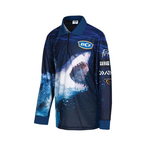 BCF Youth's Shark Sublimated Polo, Navy, bcf_hi-res