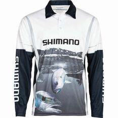 Shimano Men's Kingfish Sublimated Polo Black / Grey / White S, Black / Grey / White, bcf_hi-res