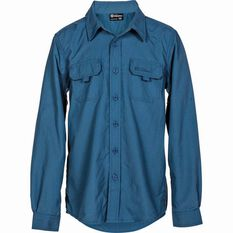 Outdoor Expedition Kids' Vented Long Sleeve Shirt Dark Blue 10, Dark Blue, bcf_hi-res