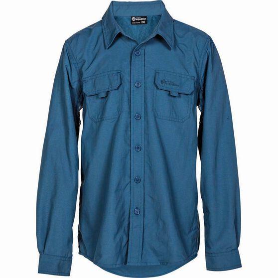 Outdoor Expedition Kids' Vented Long Sleeve Shirt Dark Blue 10, Dark Blue, bcf_hi-res