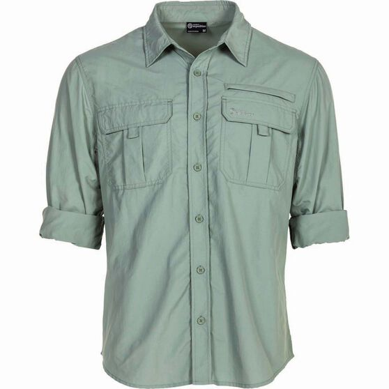 Outdoor Expedition Men's Vented Long Sleeve Shirt Iron 2XL, Iron, bcf_hi-res