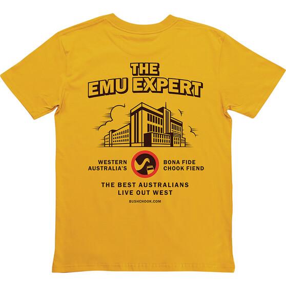Bush Chook Men's The Emu Expert Tee, Mustard, bcf_hi-res