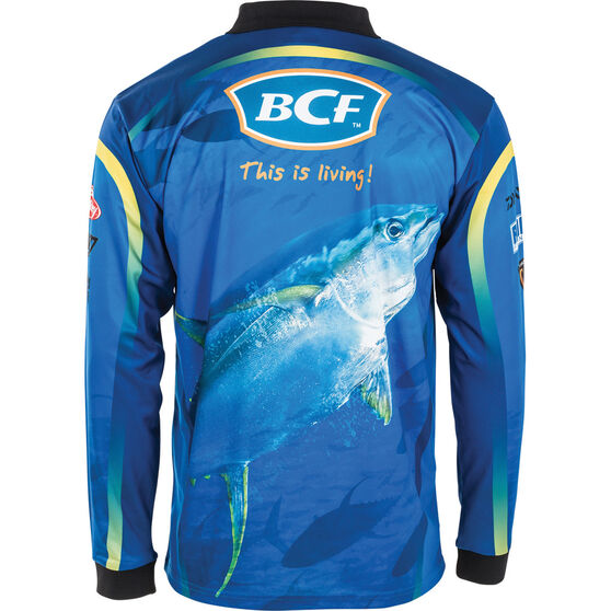 BCF Men's Yellowfin Tuna Sublimated Polo Blue M, Blue, bcf_hi-res