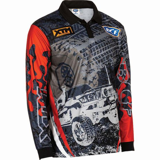 BCF Men's 4WD Sublimated Polo Grey / Red XL, Grey / Red, bcf_hi-res