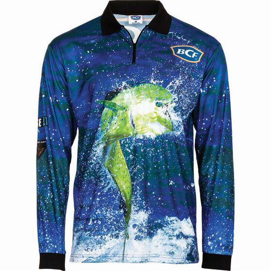 BCF Men's Mahi Sublimated Polo Blue 2XL, Blue, bcf_hi-res