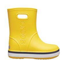 Crocs Kids Crocband Rainboot Yellow / Navy C9, Yellow / Navy, bcf_hi-res
