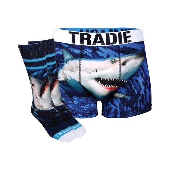 Tradie Shark Print Socks and Jocks Shark S, Shark, bcf_hi-res