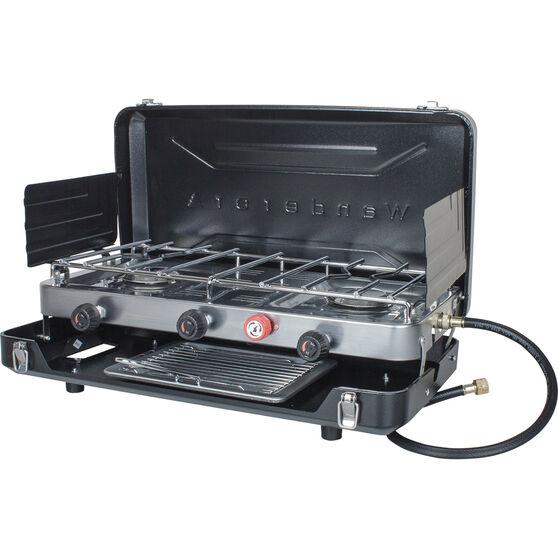 Wanderer LPG Portable Stove with Grill 2 Burner, , bcf_hi-res