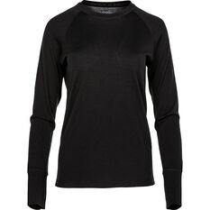 Women's Merino Long Sleeve Top Black 8, Black, bcf_hi-res