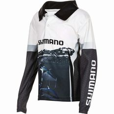 Shimano Kids' Tuna Sublimated Polo Black / Navy / White 4, Black / Navy / White, bcf_hi-res