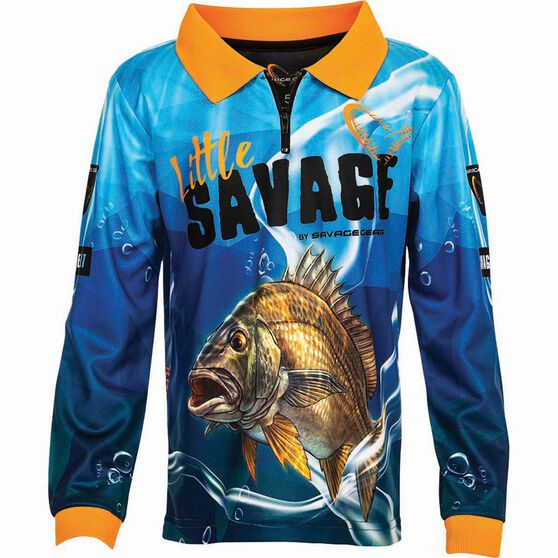 Savage Kids' Bream Sublimated Polo Blue 4, Blue, bcf_hi-res