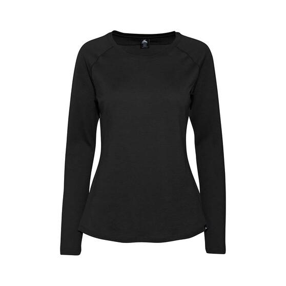 Macpac Women's Merino Ella Long Sleeve, Black, bcf_hi-res