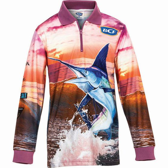 BCF Kids' Marlin Sublimated Polo Pink 10, Pink, bcf_hi-res