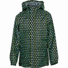 OUTRAK Printed Packaway Rain Jacket, Black / Green, bcf_hi-res