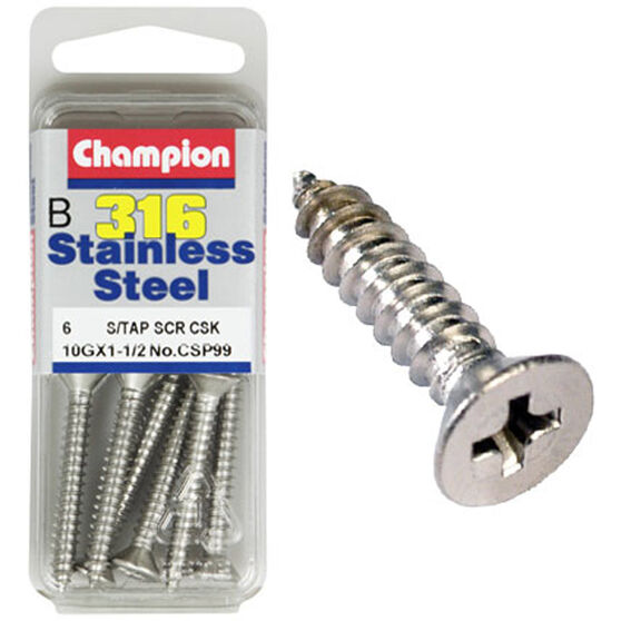 Champion Self Tapping Countersunk Screw - 6G X 1inch / 2inch, , bcf_hi-res