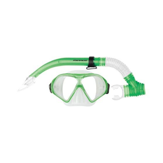 Mirage Tropic Adult Snorkel Set Green, Green, bcf_hi-res