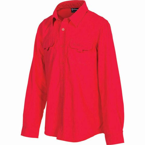 Outdoor Expedition Kid's Vented Long Sleeve Fishing Shirt 8 Pop Pink 8, Pop Pink, bcf_hi-res