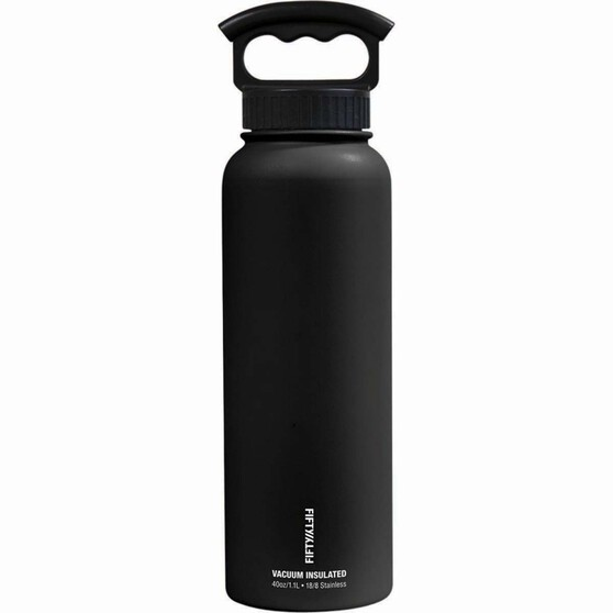 Fifty Fifty Insulated Drink Bottle 1.1L Black, Black, bcf_hi-res