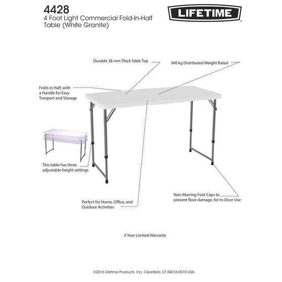 Lifetime Blow Mould Folding Table 121cm, , bcf_hi-res