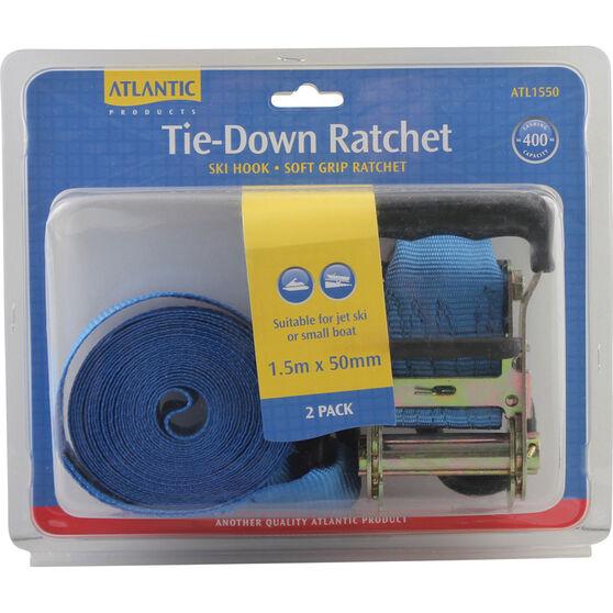 Atlantic Tie Down Ratchet Kit 1.5m x 50mm Pair, , bcf_hi-res