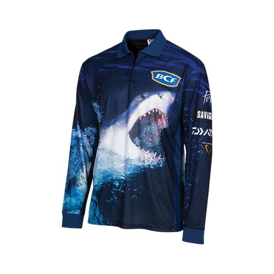 BCF Men's Shark Sublimated Polo, Navy, bcf_hi-res