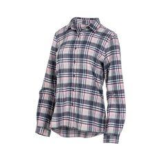 OUTRAK Women's Yarn Dye Flannel Shirt Grey / White 12, Grey / White, bcf_hi-res
