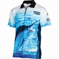 BCF Men's Marlin Short Sleeve Sublimated Polo Blue S, Blue, bcf_hi-res