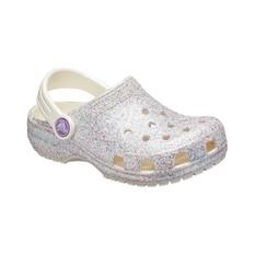 Crocs Classic Kids' Glitter Clogs Oyster C7, Oyster, bcf_hi-res