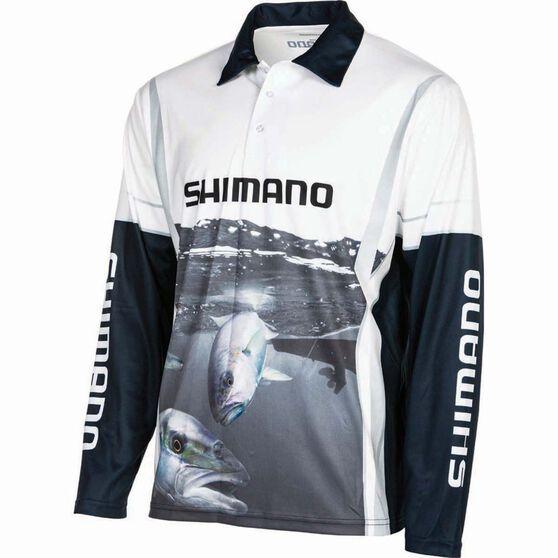 Shimano Men's Kingfish Sublimated Polo, Black / Grey / White, bcf_hi-res