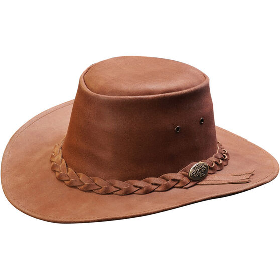 OUTBACK LEATHER Men's Indiana Full Leather Hat, Brown, bcf_hi-res
