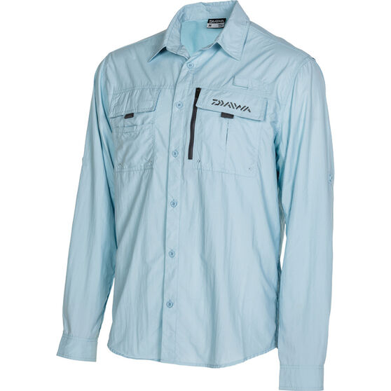 Daiwa Men's Long Sleeve Fishing Shirt, Blue, bcf_hi-res