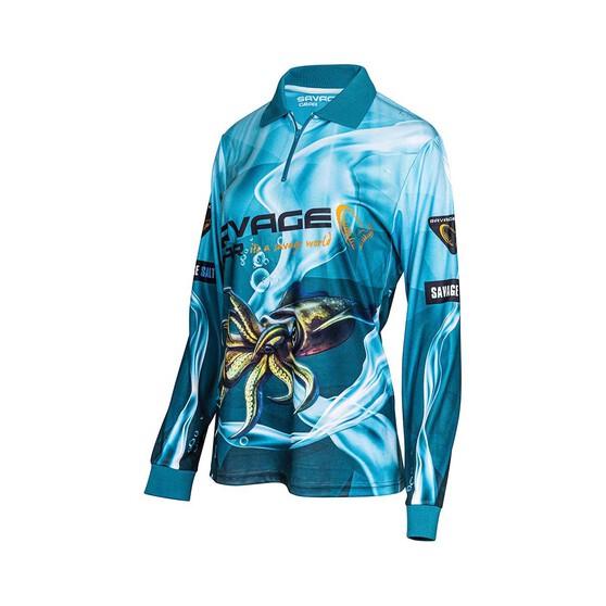 Savage Gear Womens Squid Sublimated Polo, Aqua, bcf_hi-res