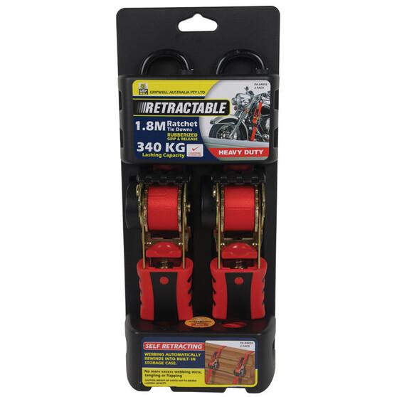 Gripwell Ratchet Tie Down - Retractable, 1.8m, 340kg, 2 Pack, , bcf_hi-res