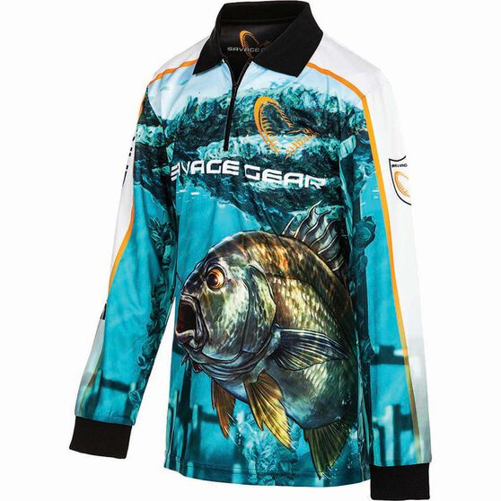 Savage Kids' Bream Sublimated Polo Green 10, Green, bcf_hi-res