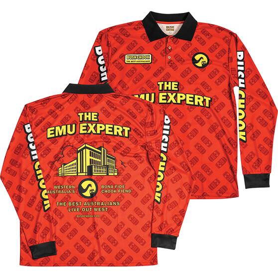 Bush Chook Men's The Emu Expert Sublimated Polo, Print, bcf_hi-res