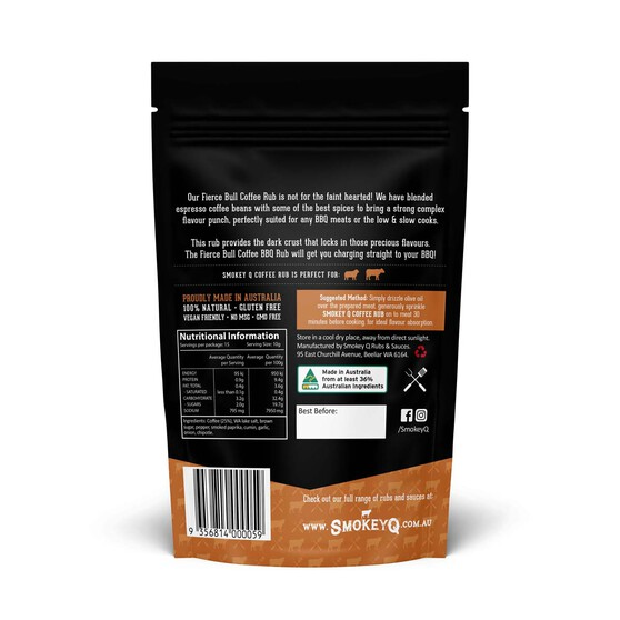 Smokey Q Fierce Bull Coffee Rub Pouch 150G, , bcf_hi-res