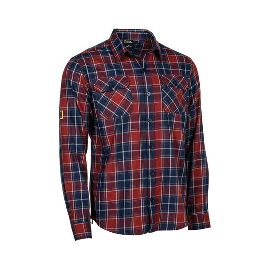 National Geographic Men's Long Sleeve Shirt, Red Check, bcf_hi-res