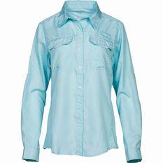 Women's Vented Long Sleeve Shirt Aqua 8, Aqua, bcf_hi-res