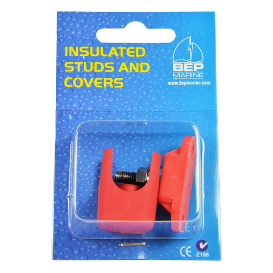 BEP Single Insulated 6mm Stud With Red Cover, , bcf_hi-res