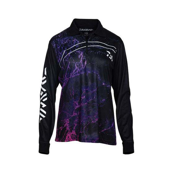 Daiwa Women's Storm Sublimated Polo, Black, bcf_hi-res