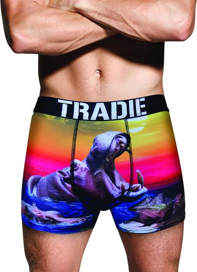 Tradie Men's Harry Hippo Trunk, Print, bcf_hi-res