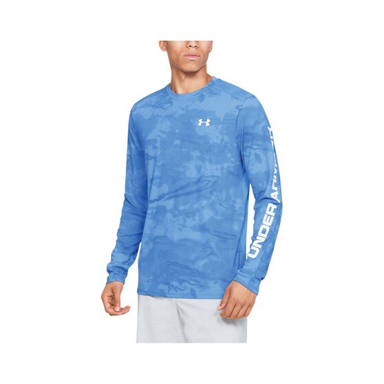 Under Armour Men's Shore Break Iso-Chill Sublimated Shirt, Carolina Blue / White, bcf_hi-res