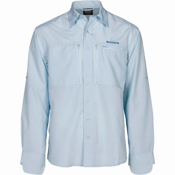 Shimano Men's Slim Fit Pro Vented Long Sleeve Shirt, Ice, bcf_hi-res