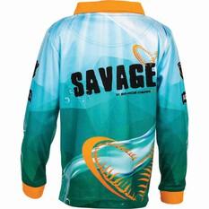 Savage Kids' Flathead Sublimated Polo Green 4, Green, bcf_hi-res