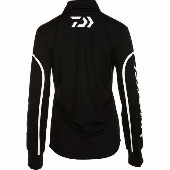 Daiwa Women's Stretch Zip Sublimated Polo Black 14, Black, bcf_hi-res