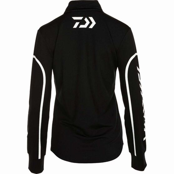 Daiwa Women's Stretch Zip Sublimated Polo Black 18, Black, bcf_hi-res