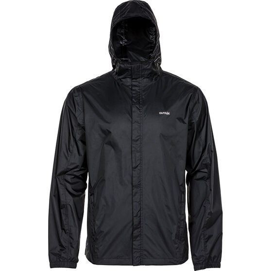 OUTRAK Men's Packaway Rain Jacket, Black, bcf_hi-res