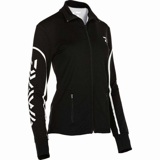 Daiwa Women's Stretch Zip Sublimated Polo Black 16, Black, bcf_hi-res