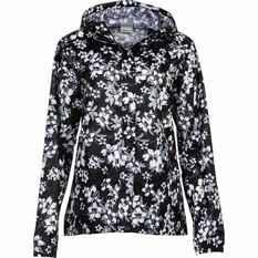 OUTRAK Printed Packaway Rain Jacket Black Floral 8, Black Floral, bcf_hi-res